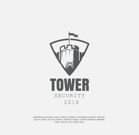 badge of fortress. concept of protection, a logotype of building a castle in a shield, an illustration of a historical museum