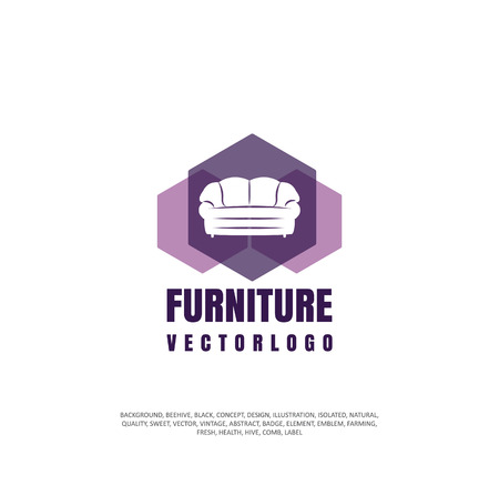 Logos selling furniture, a company icon for making furniture, an object of silhouette. Vector illustration, concept of sale Stock Vector - 96829003