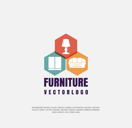 a set of logos selling furniture, a company icon for making furniture, an object of silhouette. Vector illustration, concept of sale Stock Vector - 96742646