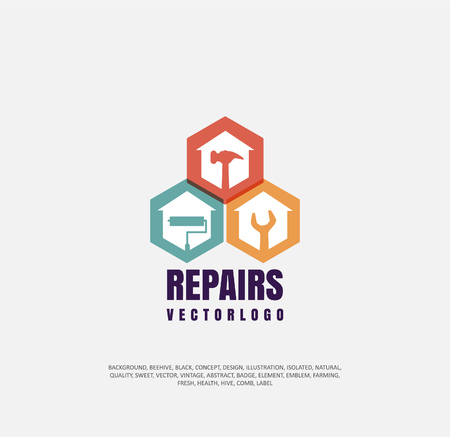 apartment repair logo, company icon for repair and restoration of real estate, object of silhouette. Vector illustration, concept of repair Ilustrace