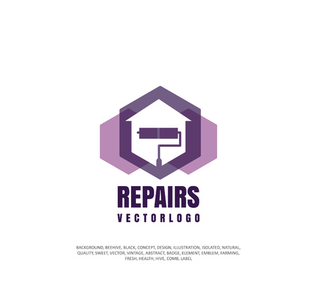 Apartment repair logo, company icon for repair and restoration of real estate, object of silhouette. Vector illustration, concept of repair
