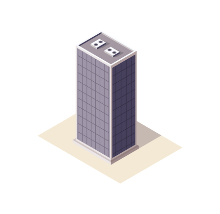 real estate building, vector illustration, three-dimensional building Illusztráció