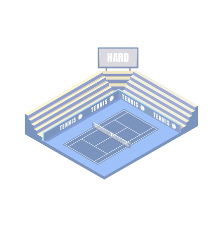 tennis court, synthetic hard cover, blue isometric platform, vector illustration, game of tennis. Open area.