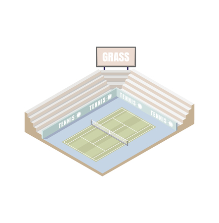 A tennis court, grass cover isometric platform, vector illustration, game of tennis. Open area. Wimbledon