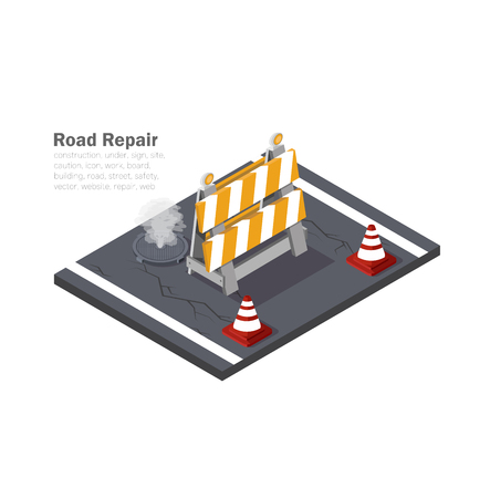 Road work, low-polygon drawing, vector illustration, isometric graphics.