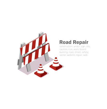 Road repair vector illustration on white background. Isometric 3d signs, pattern reconstruction, vector cones and low poly.