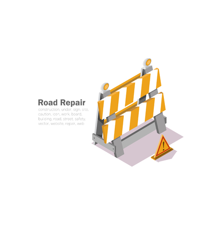 Road works drawing with a low polygon