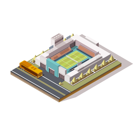 isometric tennis court, low poly, bus near the building, big tournament, concept for a tennis game, 3d field, stands, graphic vector drawing, championship