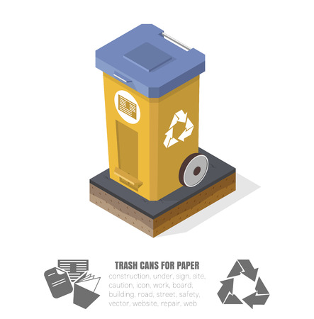 isometric basket for recycling paper, vector illustration, plastic tanks, low-poly images Illustration