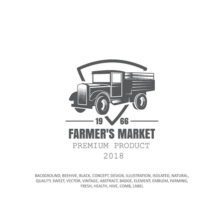 old truck, farmers logo, agriculture icon
