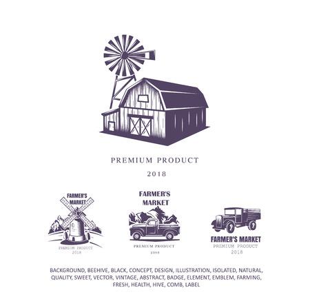 farm house set, mill logo, pick-up emblem, old truck icon. Vector illustration