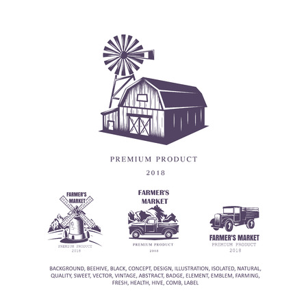 farm house set, mill logo, pick-up emblem, old truck icon. Vector illustration