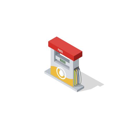 isometric gas station vector illustration