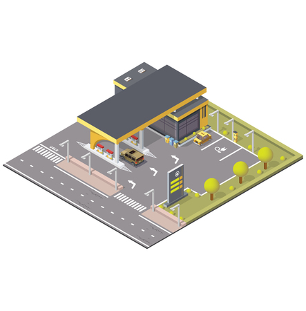 Filling station in isometric with transport, vector illustration. Part of city
