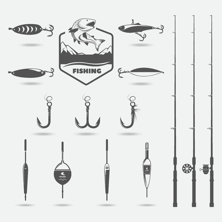 fishing rods, floats, set for hobby, raster copy, illustration Фото со стока