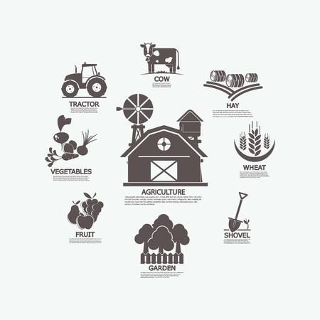 Set agriculture icon. raster copy