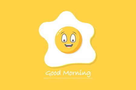 egg vector illustration, positive emotion, healthy breakfast concept
