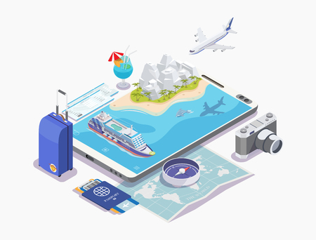 set of objects cruise ship isometric vector illustration, cruise concept, banner for rest, white background Иллюстрация