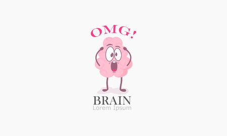 brain cartoon character holding his head shouting about my god. Vector illustrations