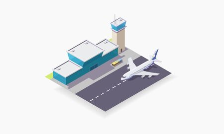 isometric vector illustration of airport, plane on the runway, concept of travel, passenger plane near the terminal.