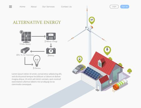 connection infographics, isometric vector illustration of a smart house powered by solar energy and with a wind turbine near the house, eco technology concept  イラスト・ベクター素材