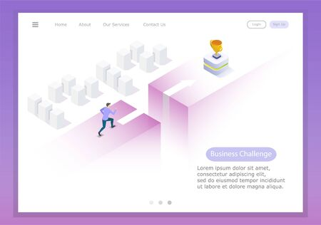 run and Leap to victory, test the courage and trials of a young businessman. Vector isometric illustration