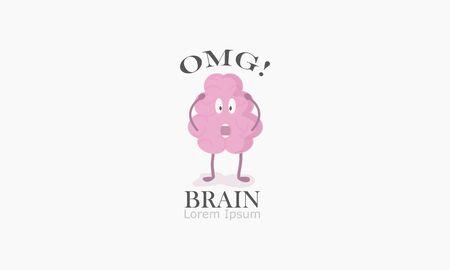 oh my god, brain icon vector illustration, brain shocked