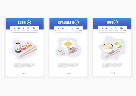 phone app, Asian food delivery service, sushi, spaghetti, tofu, 24 hours, vector isometric food delivery graphics