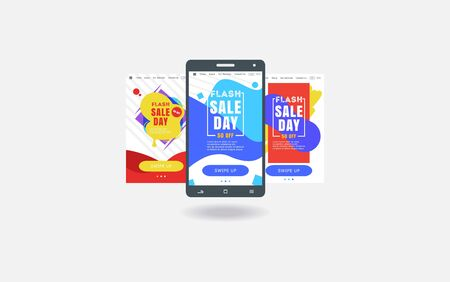 mobile app sales, bright colors, discounts and sales, online store abstract illustration 向量圖像