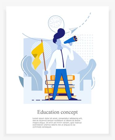 banner for a businessman in blue-yellow colors, brainstorming of a young male entrepreneur holding a flag on a background of books and screaming into a loudspeaker, flat vector illustration 向量圖像