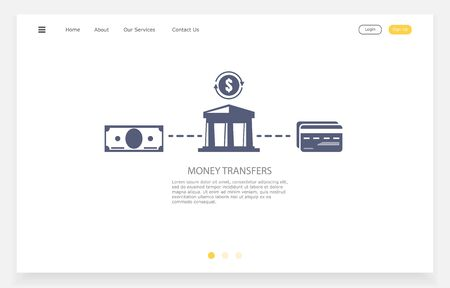 The Transferring money to a card. Vector flat web illustration. Concept of money transfer.