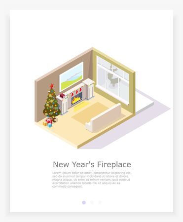 Christmas living room with fireplace and Christmas tree in the isometric Merry Christmas or Happy New Year holidays.