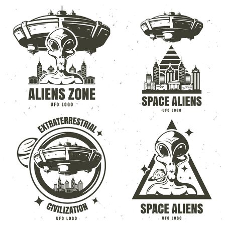 set emblems ufo . Vector illustration background 向量圖像