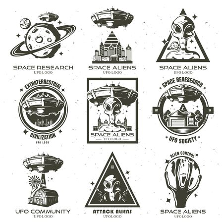 A set of UFO and alien emblems. Vector illustration