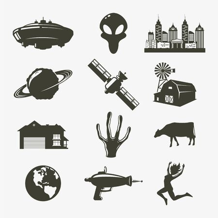 set ufo icon. Vector illustration 向量圖像