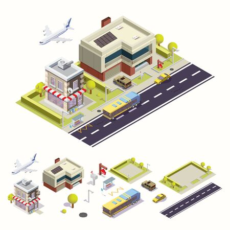 City street with cafe isometric. Vector illustration 向量圖像