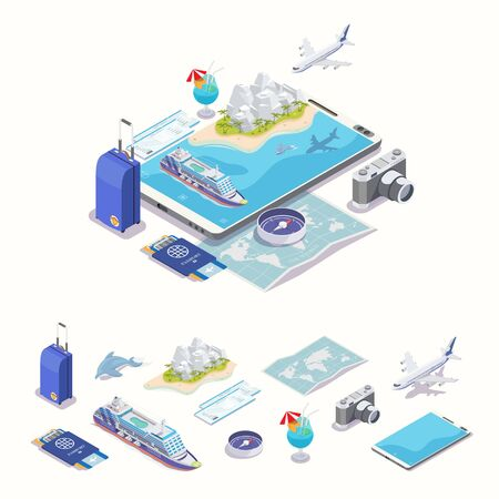 Online app travel and tourism. Isometric vector illustration.