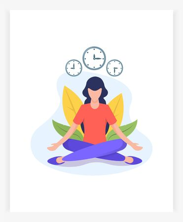 young woman in lotus position meditates. Flat vector illustration.