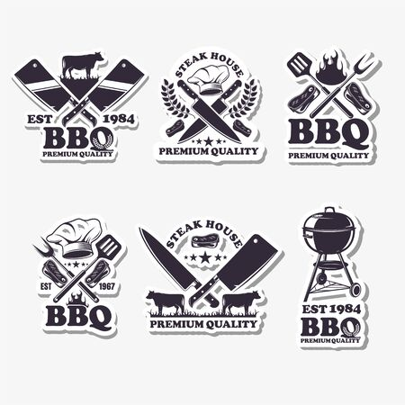 A set of emblems of BBQ. Barbecue logo, vector image on white background, summer holiday concept on picnic.