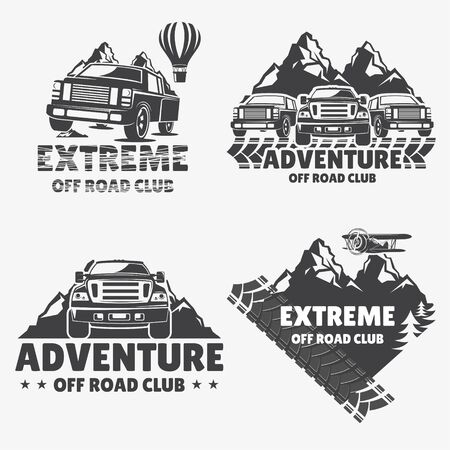 Set of off-road cars, vector set.   for travel and recreation, Cars on the background of mountains and balloons. Extreme travel 向量圖像