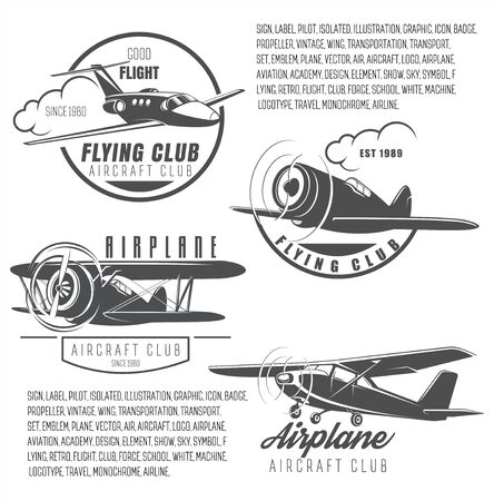 Flying club, a set of an aviation club, retro transport symbols, airplanes to choose, badges for air school , vector illustration. Sign Good flight