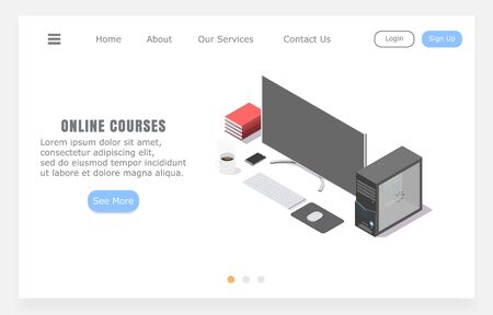 Landing page online courses, concept of distance learning, isometric vector illustration