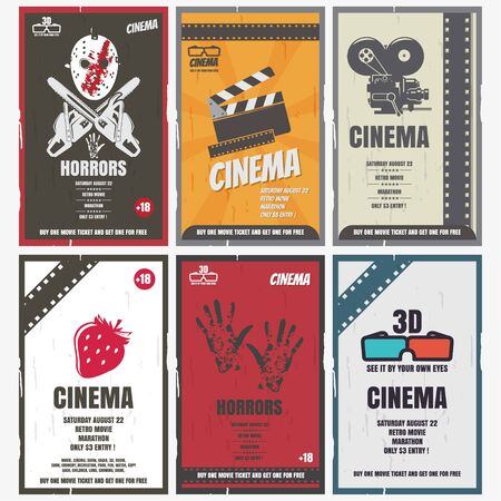 Cinema retro posters for movies of different genres. You can use it as advertising 向量圖像