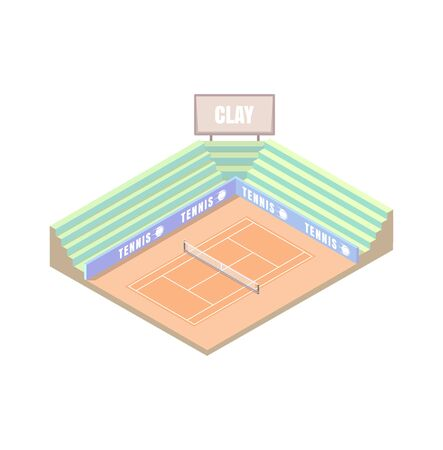 tennis court, clay field cover, orange isometric platform, vector illustration, game of tennis. Open area. Wimbledon