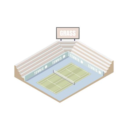 tennis court, grass cover isometric platform, vector illustration, game of tennis low poly. Open area. Wimbledon 向量圖像