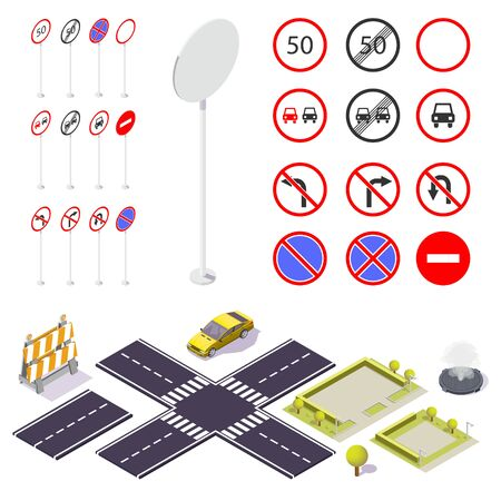 Set of isomeric prohibited road signs. Vector Illustration on a White Background