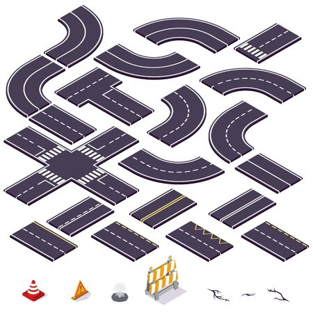 isometric road elements. Vector illustration. 向量圖像