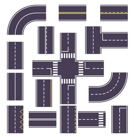 set road with turns and overheads for the route. Road markings, road traffic rules. Flat vector illustration