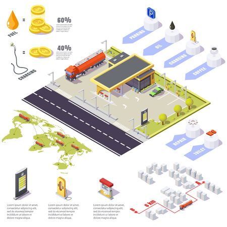 gas station Infographic filling, dangerous substance truck, isometric 3d illustration.