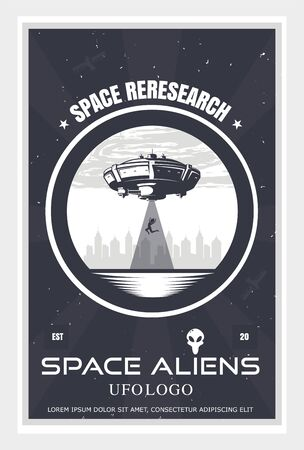 UFO poster kidnaps people on city background, ship kidnaps woman, invasion concept, vector illustration